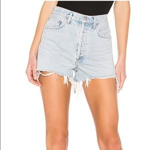 AGOLDE high rise digit denim shorts